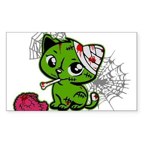Zombie Kitty Rectangle Sticker