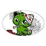 Zombie Kitty Oval Bumper Stickers