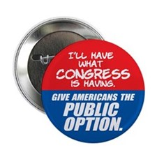 "SUPPORT THE PUBLIC OPTION 2.25"" Button"