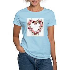 Floral Heart Women's Pink T-Shirt