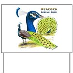 Peacock Indian Blue Yard Sign