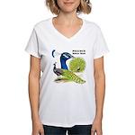 Peacock Indian Blue Women's V-Neck T-Shirt