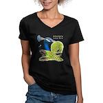 Peacock Indian Blue Women's V-Neck Dark T-Shirt