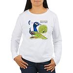 Peacock Indian Blue Women's Long Sleeve T-Shirt