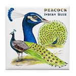 Peacock Indian Blue Tile Coaster