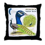 Peacock Indian Blue Throw Pillow