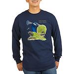 Peacock Indian Blue Long Sleeve Dark T-Shirt