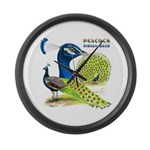 Peacock Indian Blue Large Wall Clock