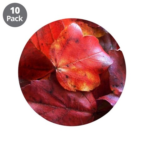"Red Leaves 3.5"" Button (10 pack)"