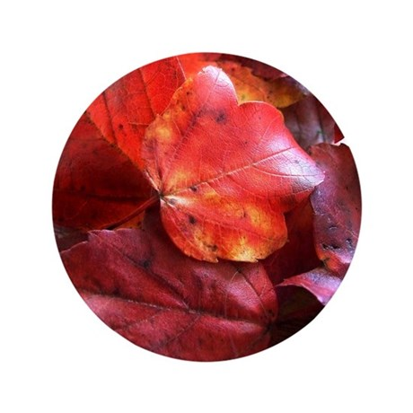 "Red Leaves 3.5"" Button (100 pack)"
