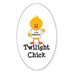 I Love Edward Twilight Chick Oval Sticker (50 pk)