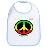 Peace, Rasta, Happiness, Love Bib