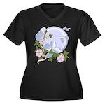 Butterfly Moon Women's Plus Size V-Neck Dark T-Shi