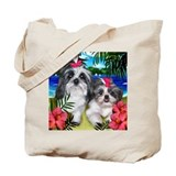 Shih Tzu Dogs Tropical Sun Tote Bag