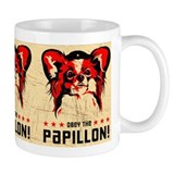 Obey the Papillon Vintage poster Small Mugs
