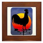 Sunrise Rooster Framed Tile