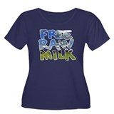 Free Raw Milk Women's Plus Size Scoop Neck Dark T-