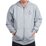 Unique Purple ribbon Zip Hoodie