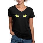 Halloween Cat's Eye Women's V-Neck Dark T-Shirt