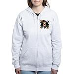 Collie Clown Halloween Women's Zip Hoodie