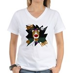 Collie Clown Halloween Women's V-Neck T-Shirt