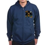 Irish Terrier Devil Halloween Zip Hoodie (dark)