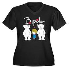 Bi-Polar Women's Plus Size V-Neck Dark T-Shirt