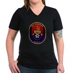 USS Guardian MCM 5 US Navy Ship Women's V-Neck Dar