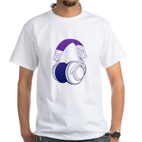 DJ Headphones 2 White T-Shirt