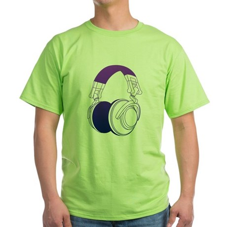 DJ Headphones 2 Green T-Shirt