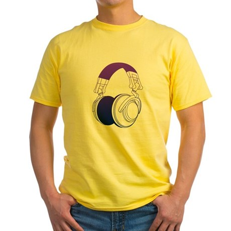 DJ Headphones 2 Yellow T-Shirt