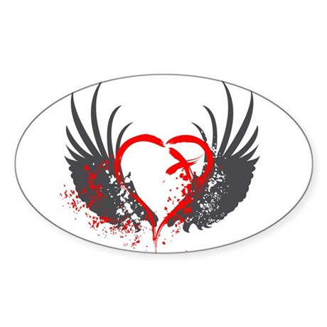Blood Wings Oval Sticker