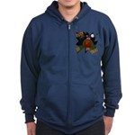 Chocolate Lab Clown Halloween Zip Hoodie (dark)