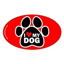 I Love my Dog Oval Decal
