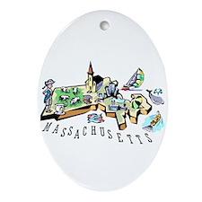 Massachusetts Map Oval Ornament