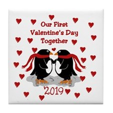 1st Valentine's Together Penguins Tile Coaster