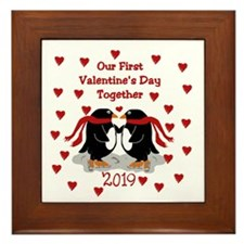 1st Valentine's Together Penguins Framed Tile