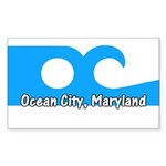 Ocean City Flag Rectangle Sticker 10 pk)