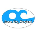 Ocean City Flag Oval Sticker (50 pk)
