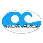 Ocean City Flag Oval Sticker (10 pk)
