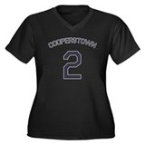 #2 - Cooperstown Women's Plus Size V-Neck Dark T-S