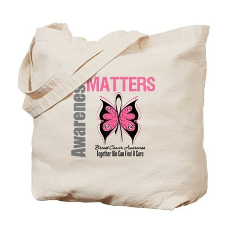 Breast Cancer Butterfly Swag Tote Bag