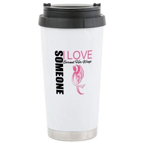 Breast Cancer Earned Wings Ceramic Travel Mug