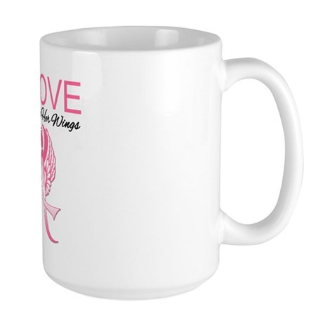 Breast Cancer Earned Wings Large Mug