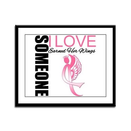 Breast Cancer Earned Wings Framed Panel Print