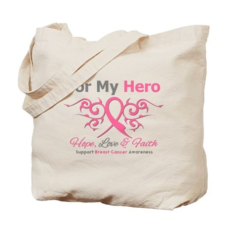 BreastCancerHero Tribal Ribbon Tote Bag