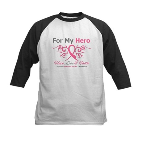 BreastCancerHero Tribal Ribbon Kids Baseball Jerse