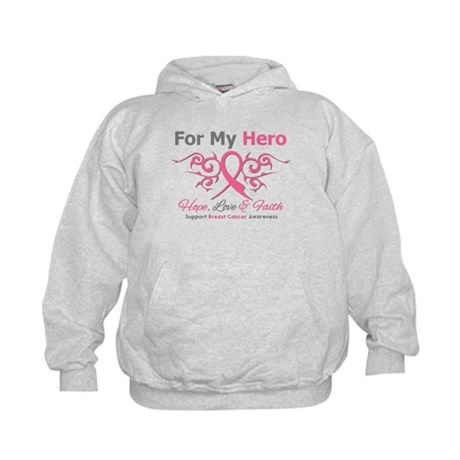 BreastCancerHero Tribal Ribbon Kids Hoodie