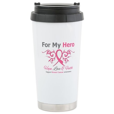 BreastCancerHero Tribal Ribbon Ceramic Travel Mug