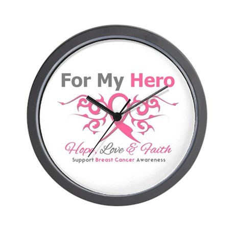 BreastCancerHero Tribal Ribbon Wall Clock